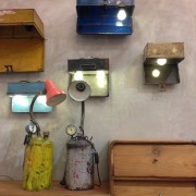 Upcycled lamps at AEIOU Cafe.