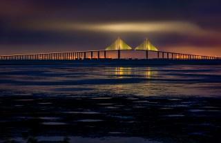 The Sunshine Skyway Bridge over Tampa Bay Florida, before dawn