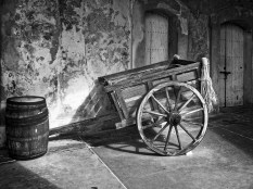 An old cart in the courtyard: Castillo de San Cristobal, San Juan, Puerto Rico