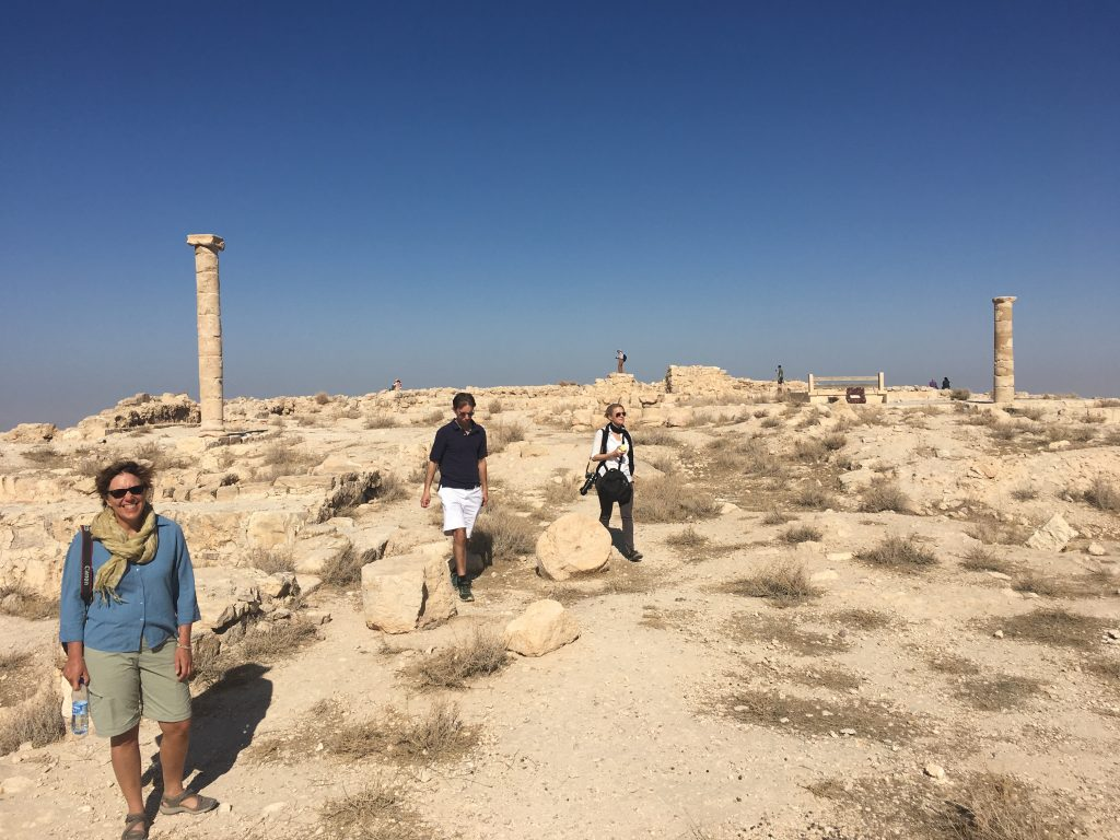 Episcopalians were among the only people visiting Mukawir, Herod's palace. Pictured from left are Heidi Shott, Tim Schenck and Lynette Wilson.