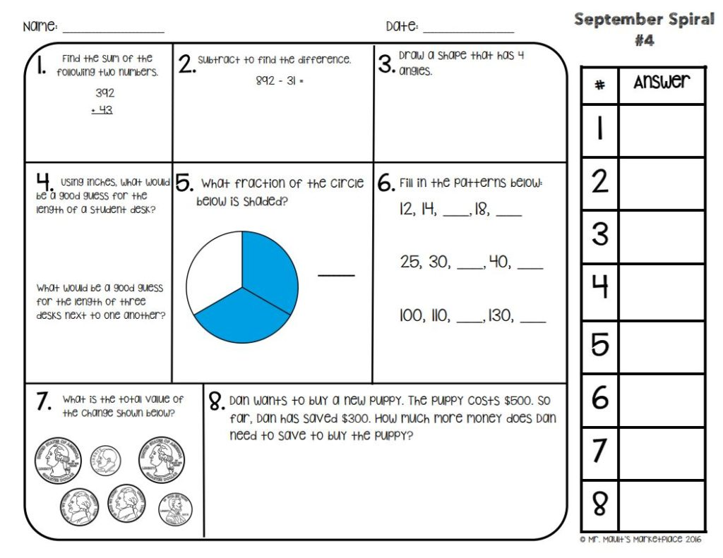 Daily Math Spiral Review Help Students Retain Everything
