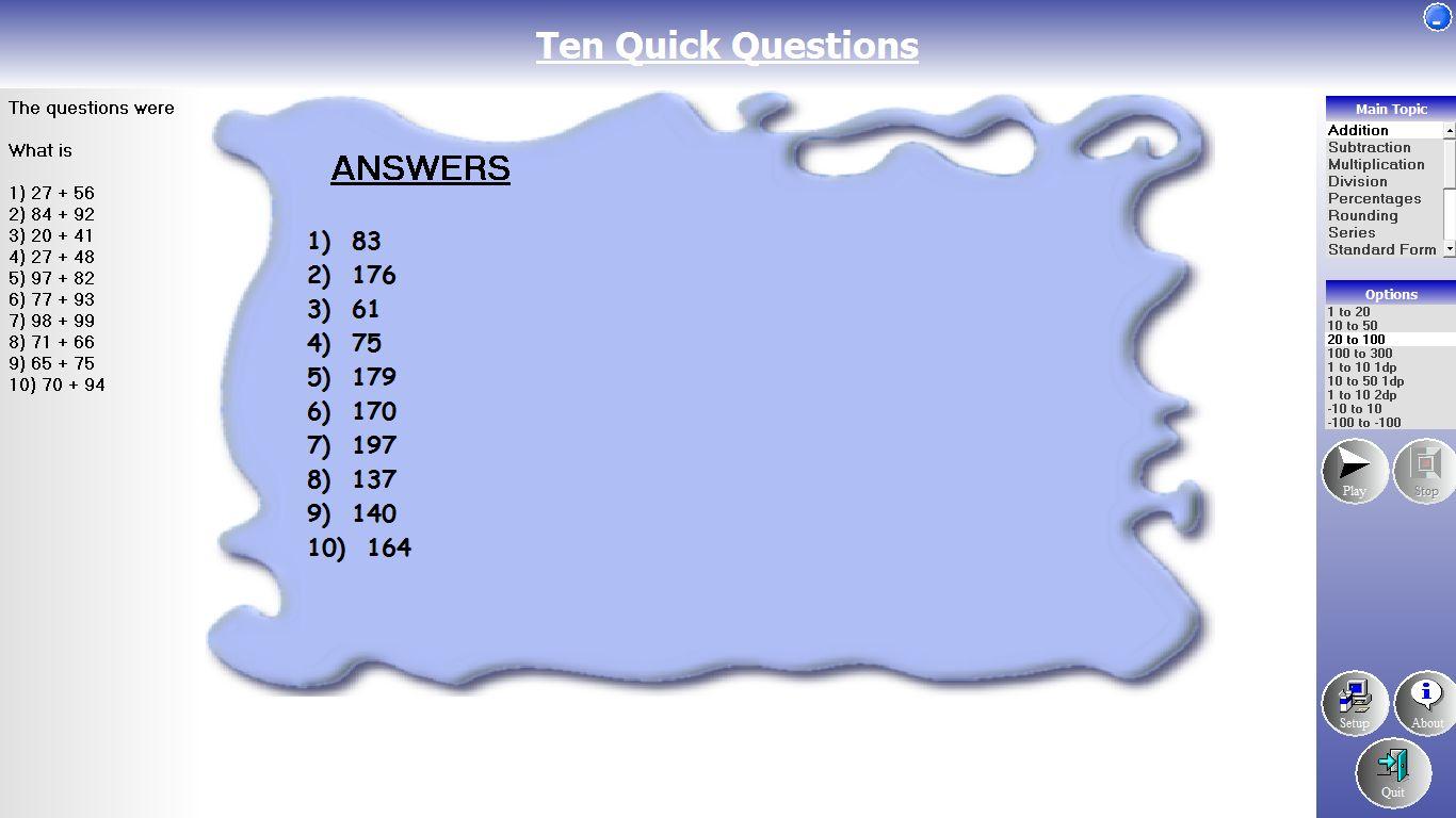Ten Quick Questions A Fantastic Free Mental Maths Tool Edtech 4 Beginners