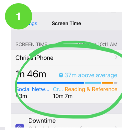 Click onthe device name above the Screen Time summary to open additional reports.