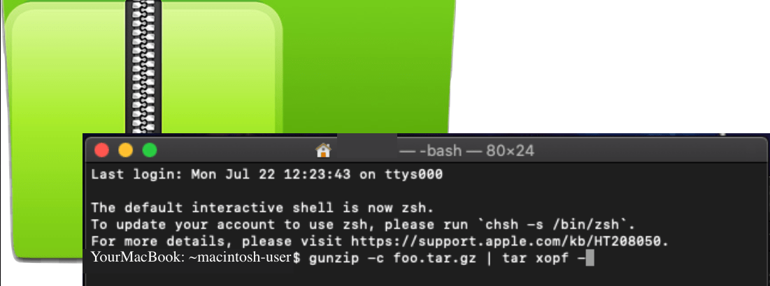 unpacking .tar files with cli on macOS