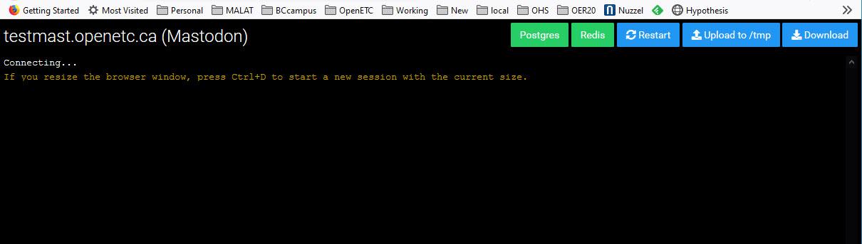 Screenshot of terminal window in Cloudron