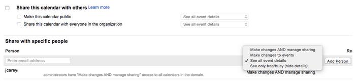 Google Calendar Sharing Settings