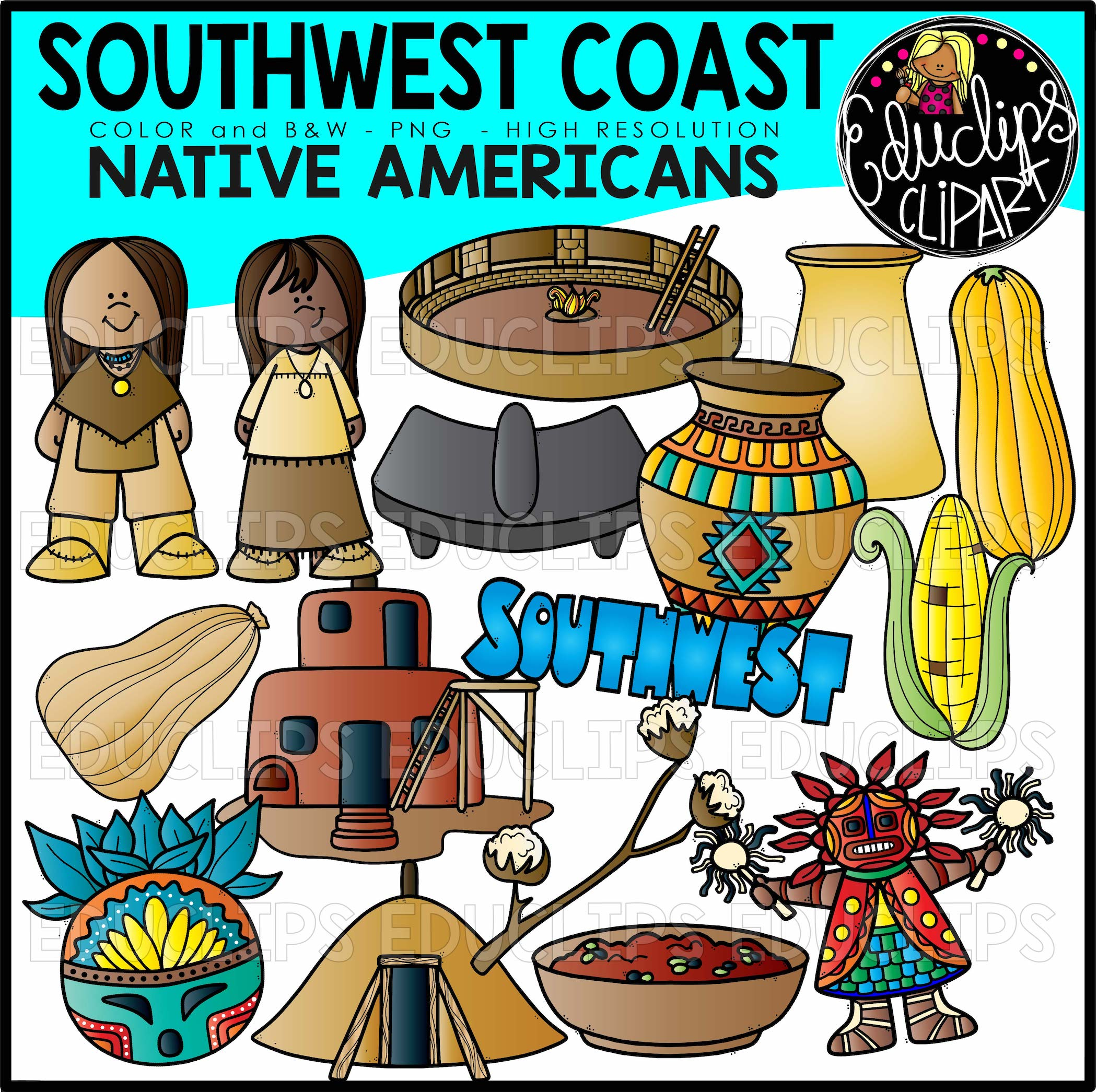 South West Native Americans Clip Art Bundle Color And B Amp W