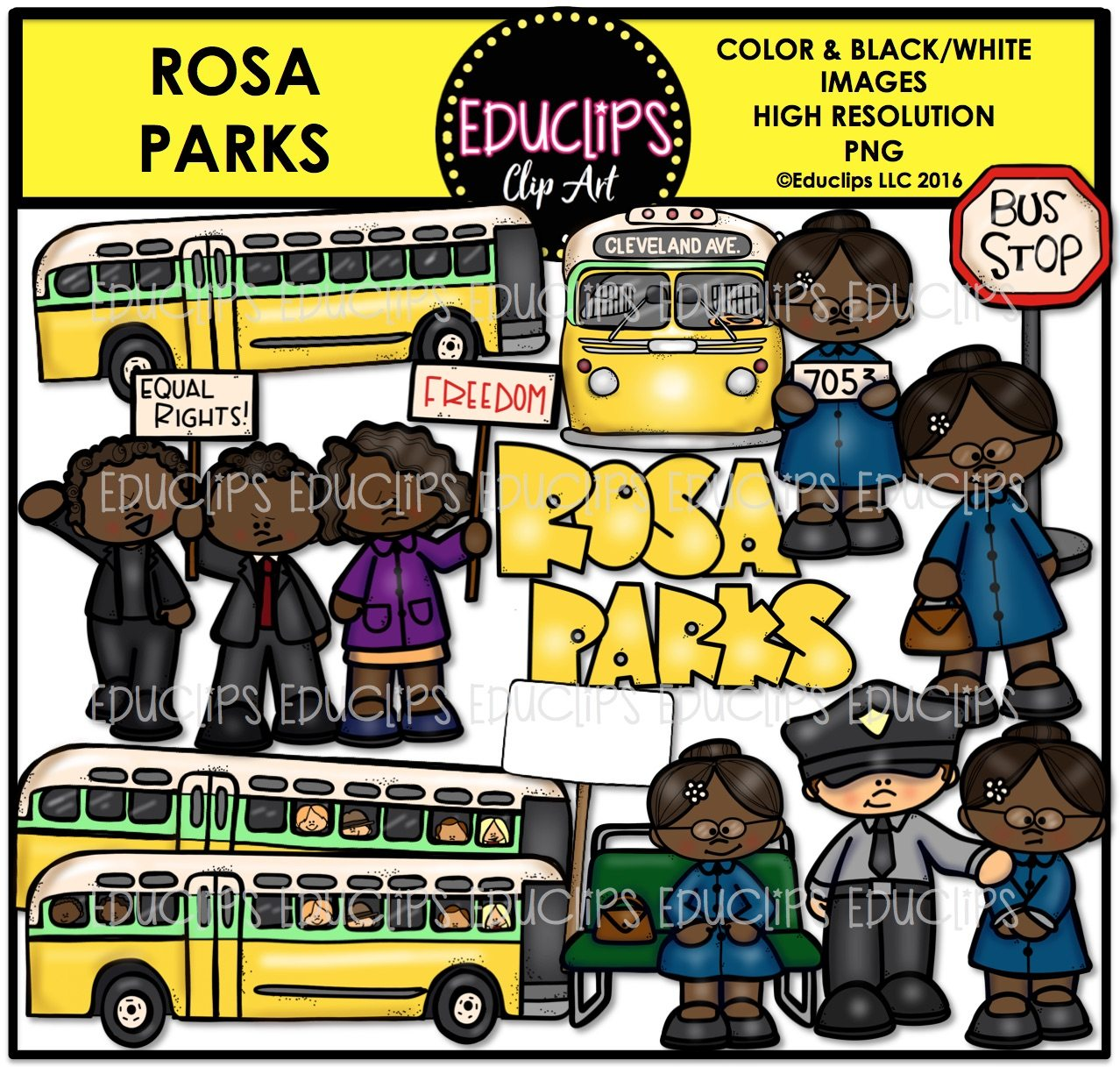 Rosa Parks Clip Art Bundle Color And B Amp W