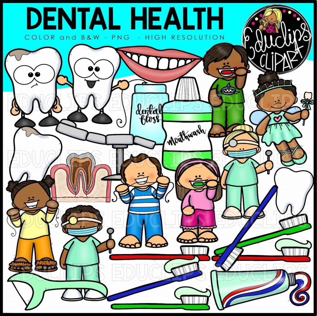 Dental Health Clip Art Bundle Color And B Amp W