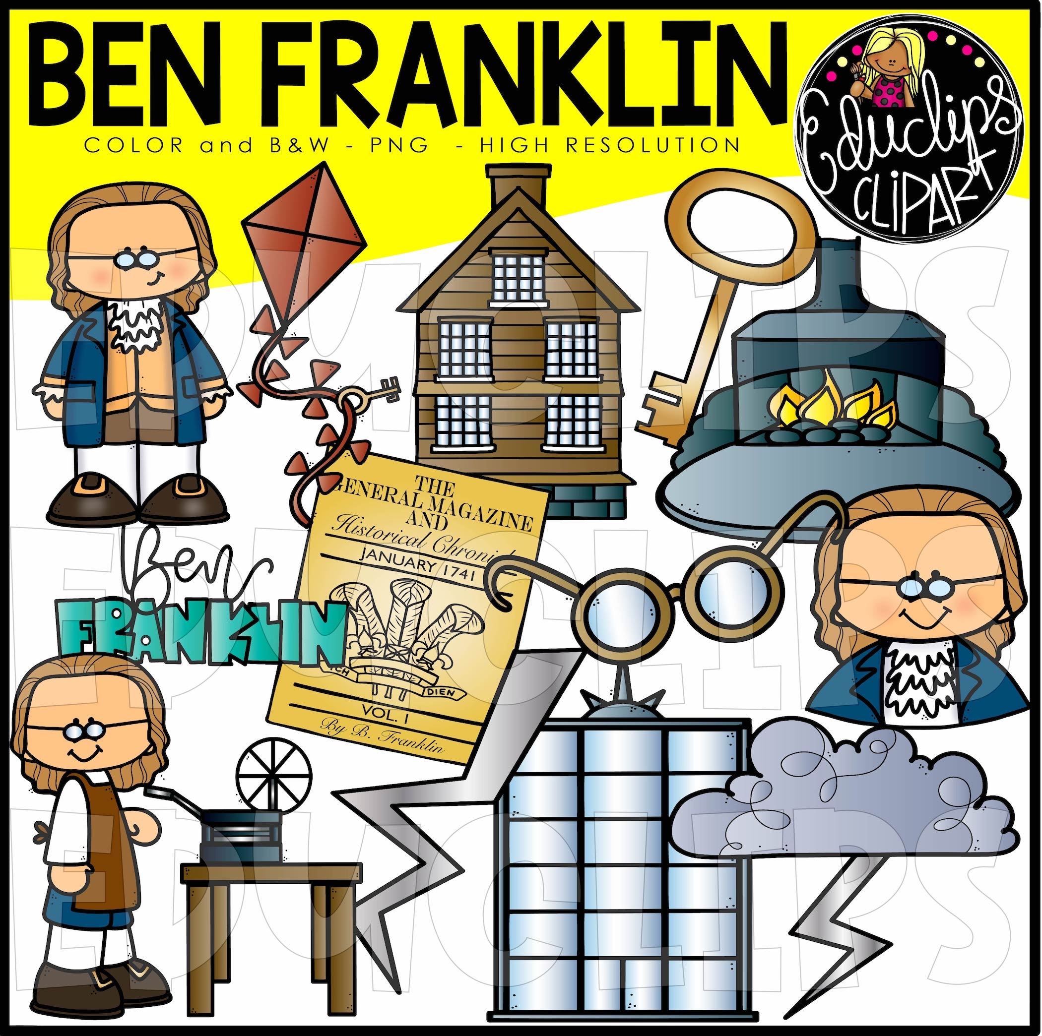Ben Franklin Clip Art Bundle