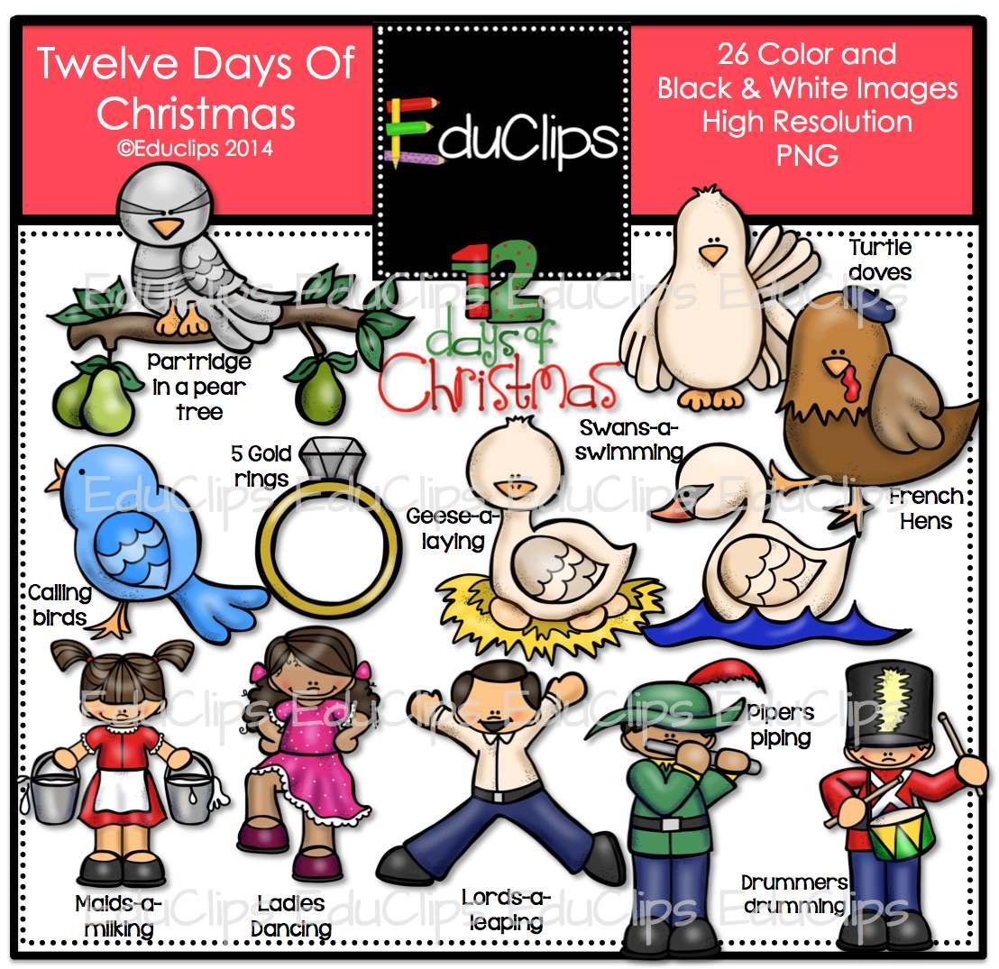 Twelve Days Of Christmas Clip Art Bundle Color And B Amp W