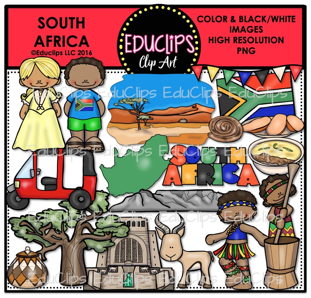 South Africa Clip Art Bundle Color And B Amp W