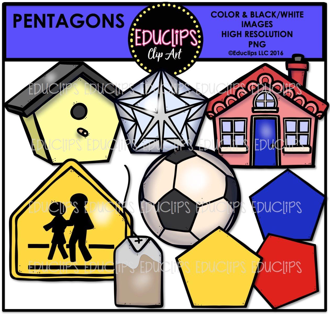 Penatgon Shapes Clip Art Bundle Color And B Amp W