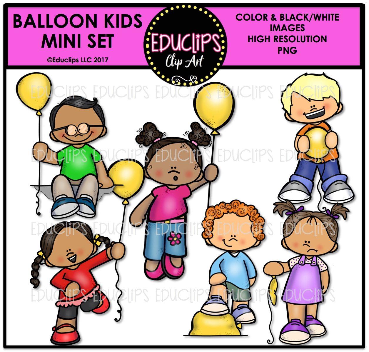 Balloon Kids Mini Clip Art Bundle Color And B Amp W