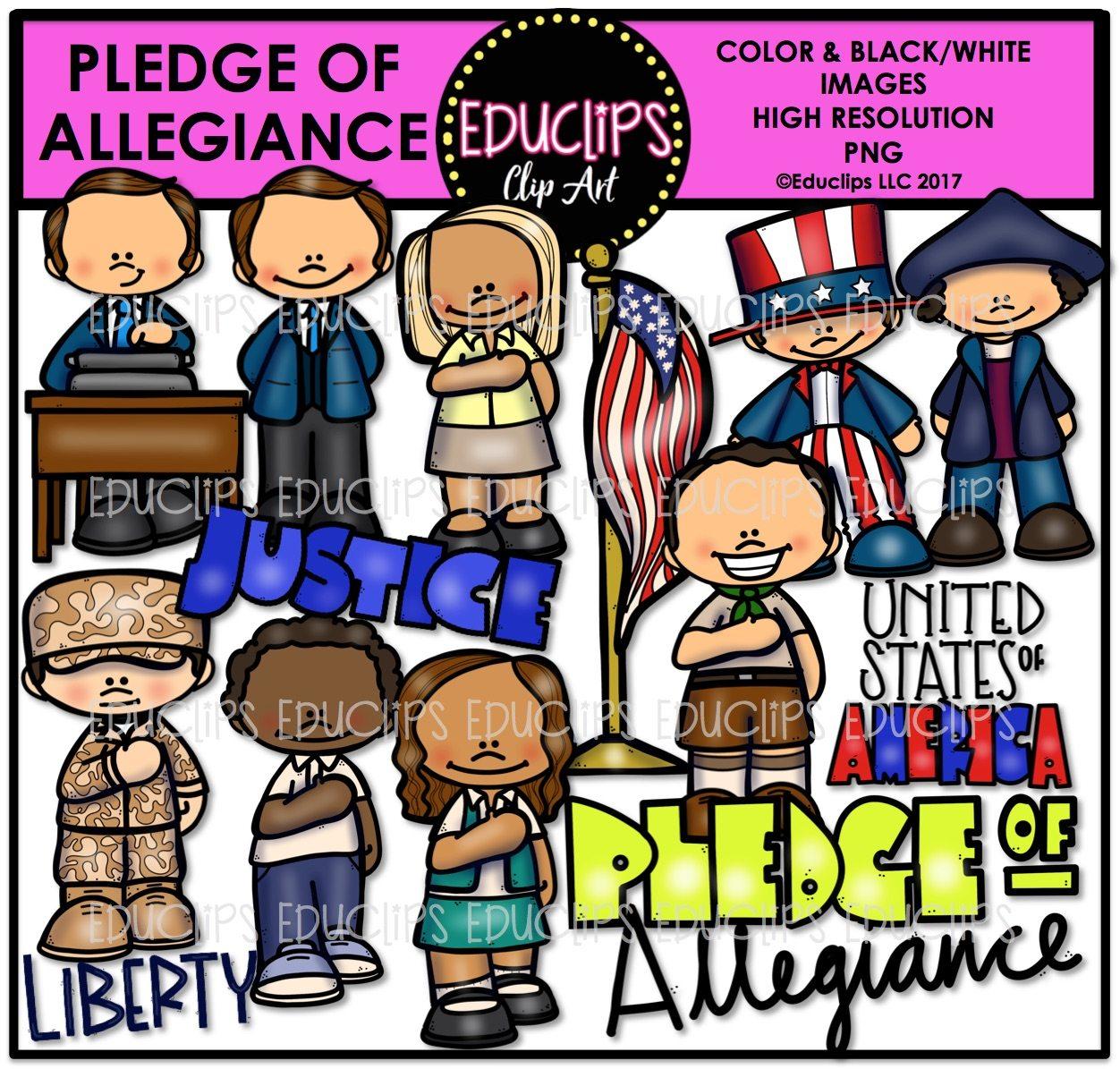 Pledge Of Allegiance Clip Art Bundle Color And B Amp W