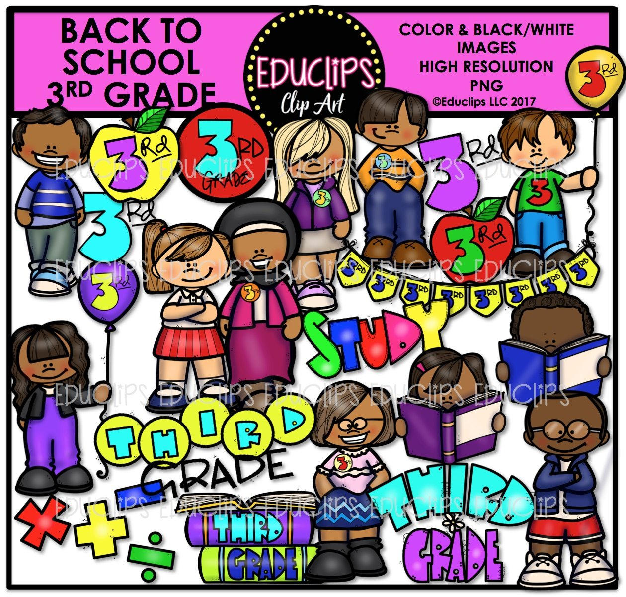 Back To School Third Grade Clip Art Bundle Color And B Amp W