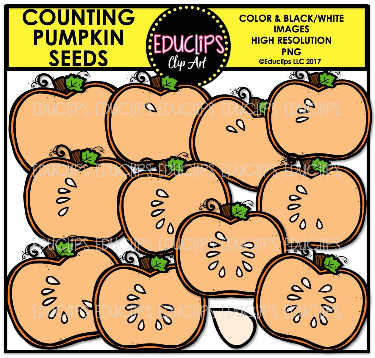 Fall Counting Clip Art Big Bundle Color And B Amp W