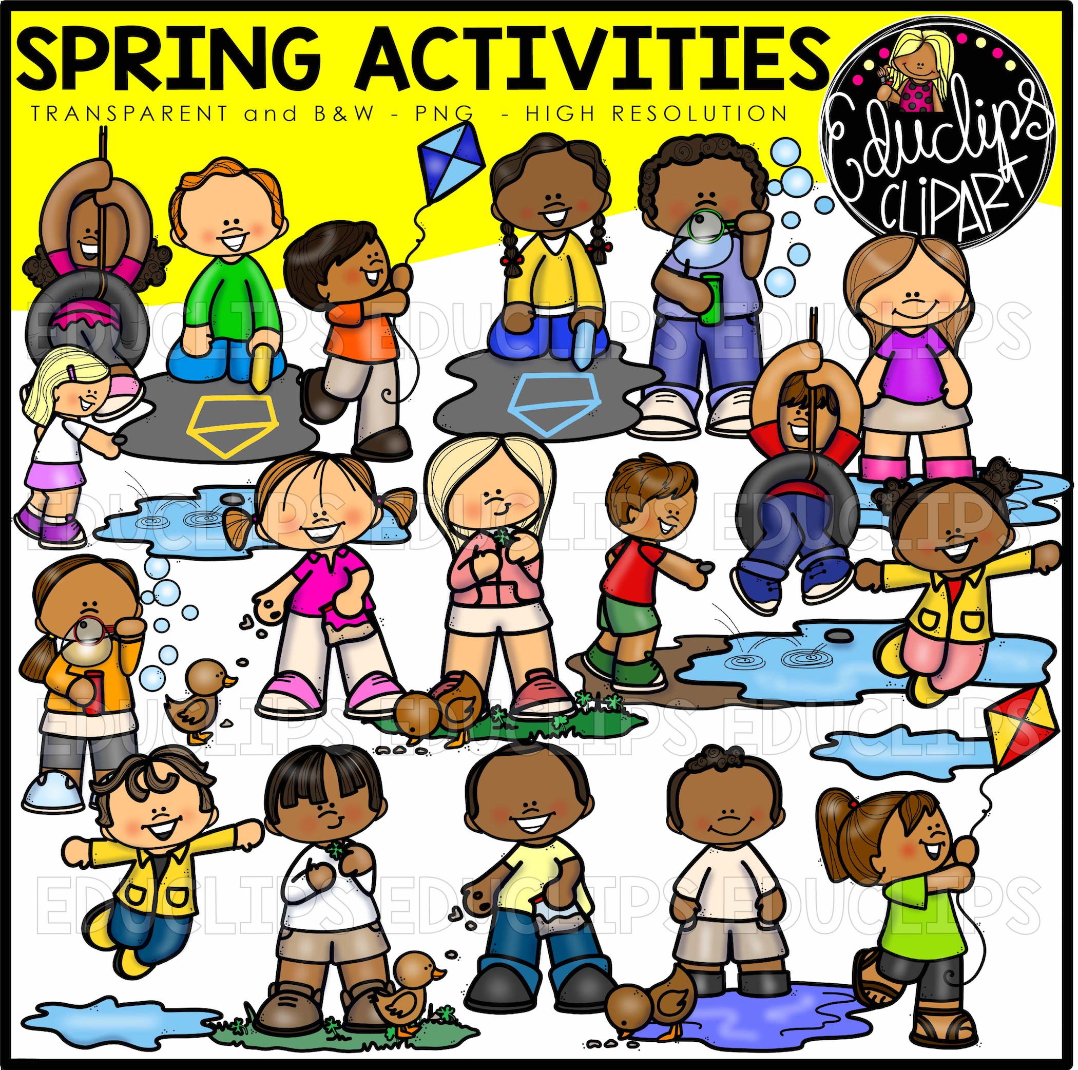 Spring Activities Clip Art Bundle Color And B Amp W