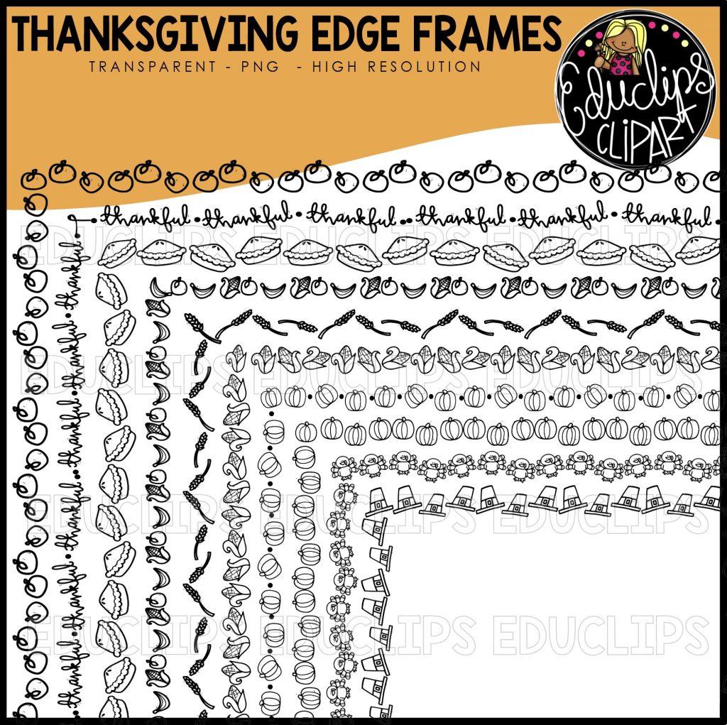 Thanksgiving Edge Frames Clip Art Set Black Images