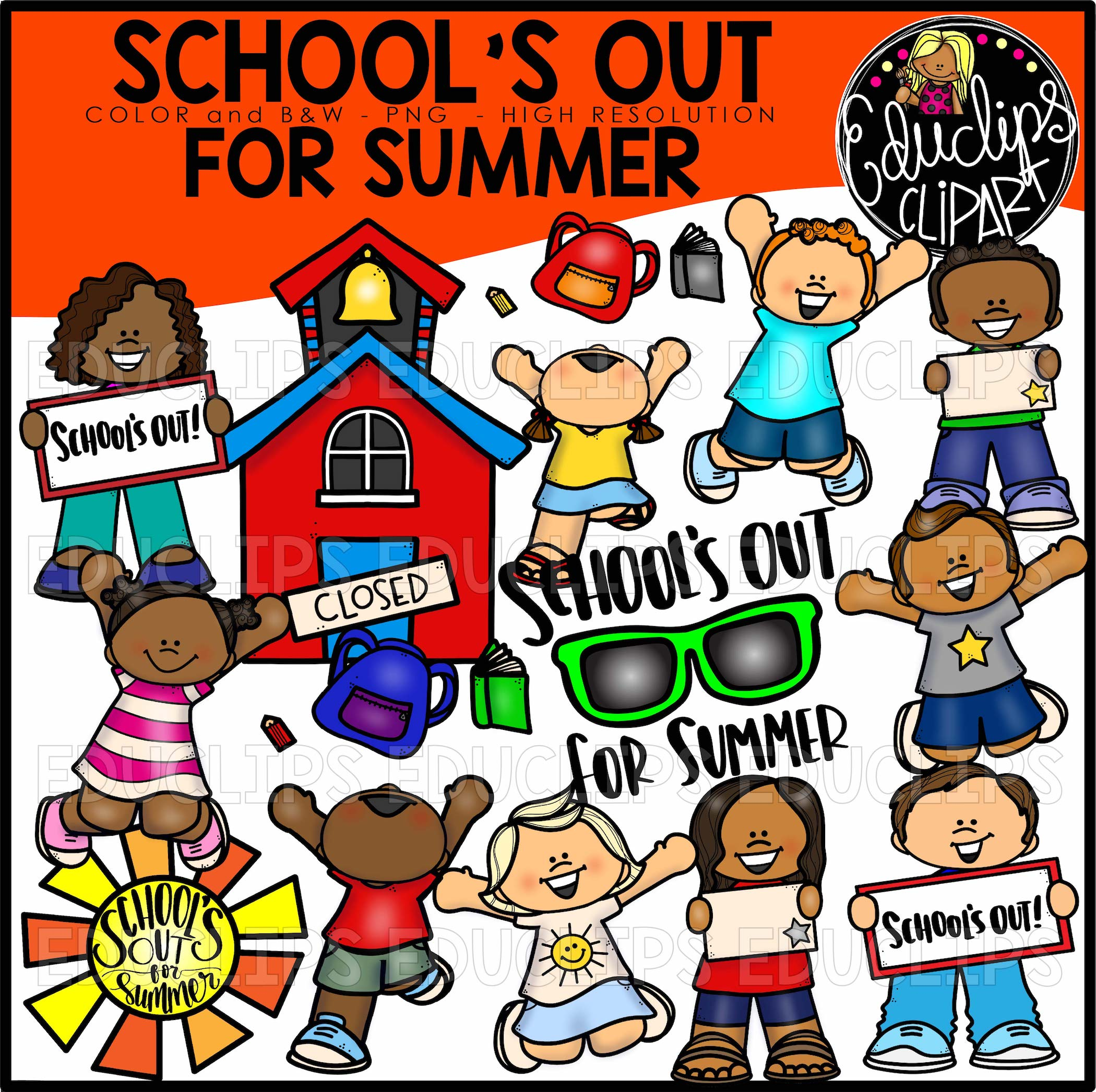 School S Out For Summer Clip Art Bundle Color And B Amp W