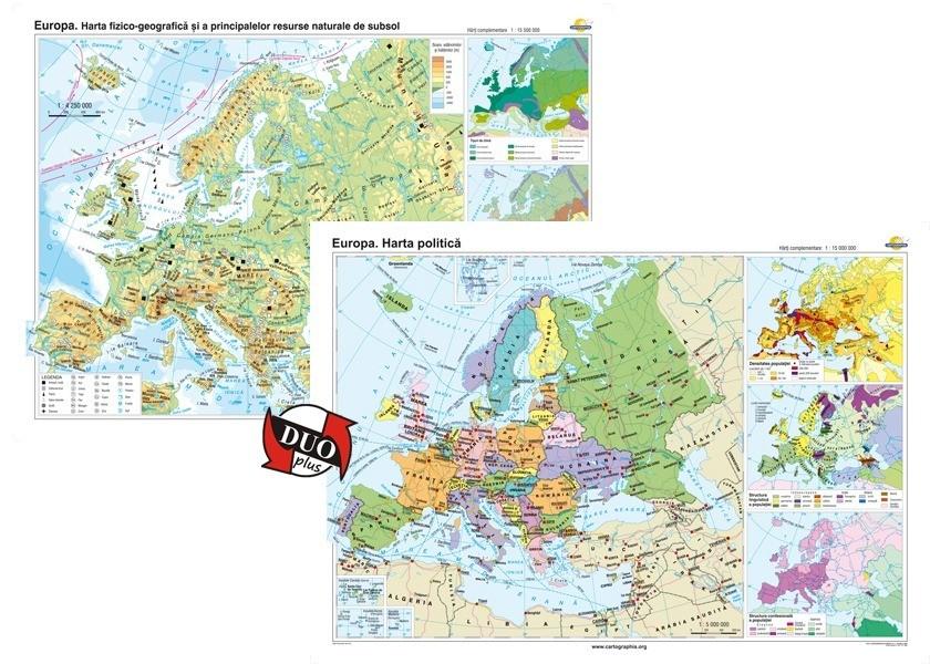 Europa Harta Fizico Geografica Si A Principalelor Resurse