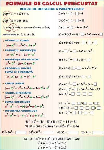 materiale didactice matematica planse plansa formule de calcul prescurtatarii duo