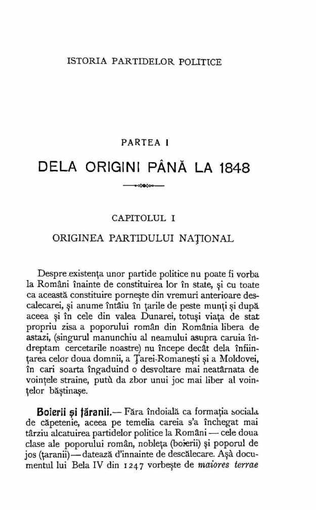 Pasaj din Istoria partidelor politice în România