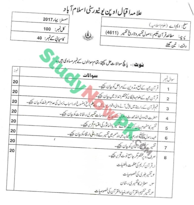AIOU-MA-Islamic-Studies-Code-4611-Past-Papers-Spring-2017