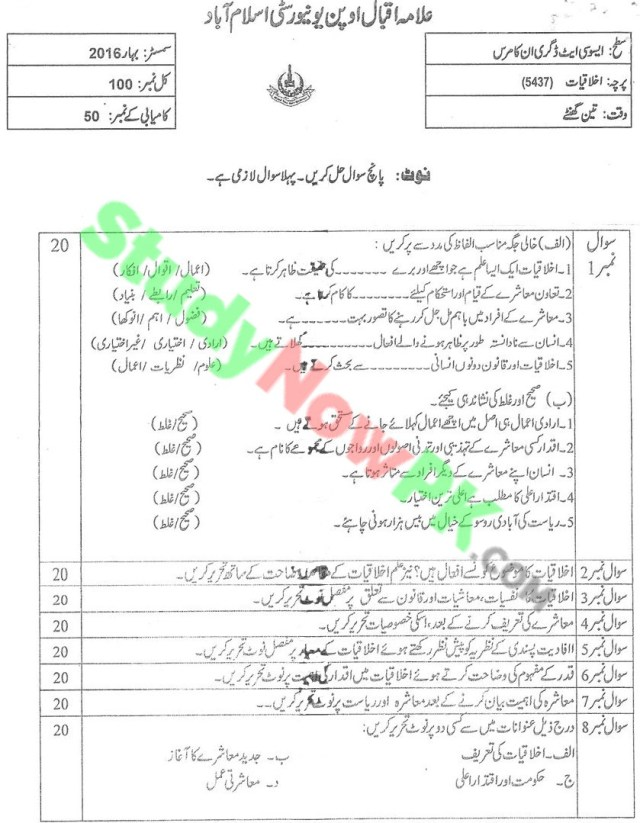 AIOU-BEd-Code-5437-Past-Papers-Spring-2016