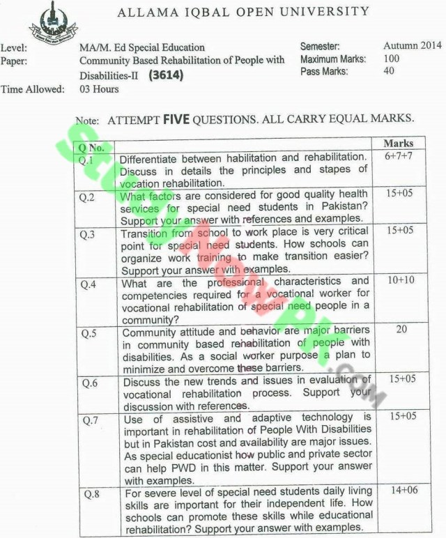 AIOU-MA-Special-Education-Code-3614-Past-Papers-Autumn-2014