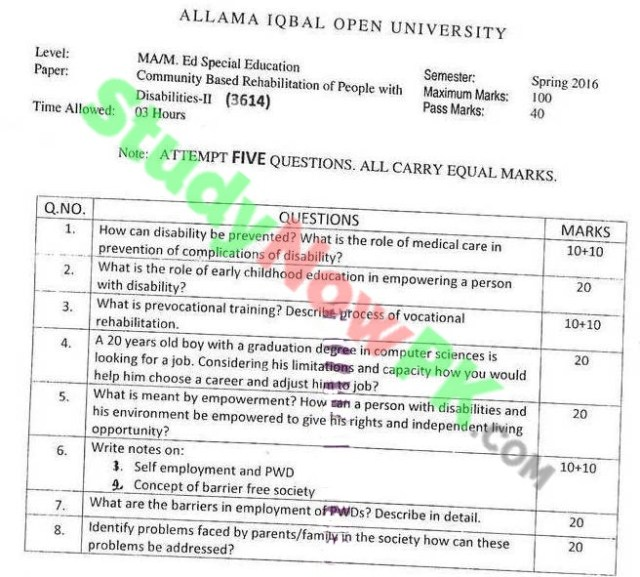 AIOU-MA-Special-Education-Code-3614-Past-Papers-Spring-2016