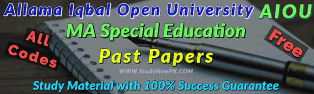 AIOU MA Special Education Past Papers All Codes