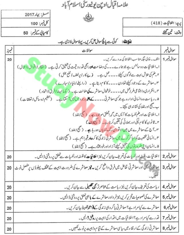 aiou-code-418-BEd-Past-Papers-Spring-2017