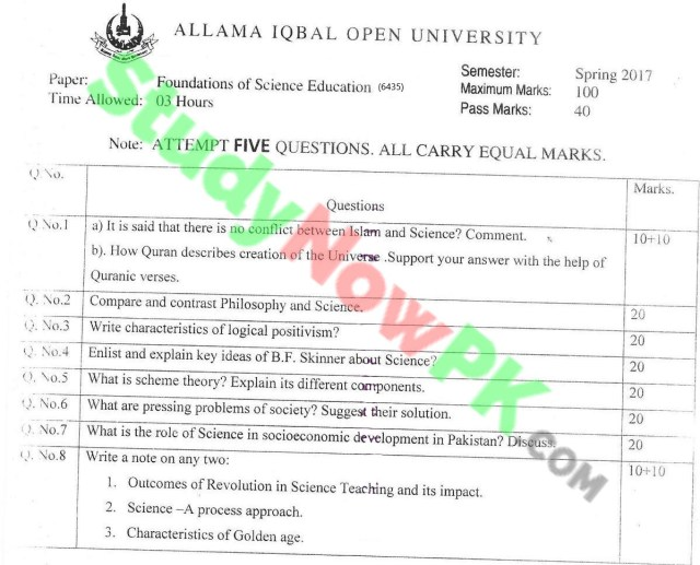 AIOU-BEd-Code-6435-Past-Papers-Spring-2017