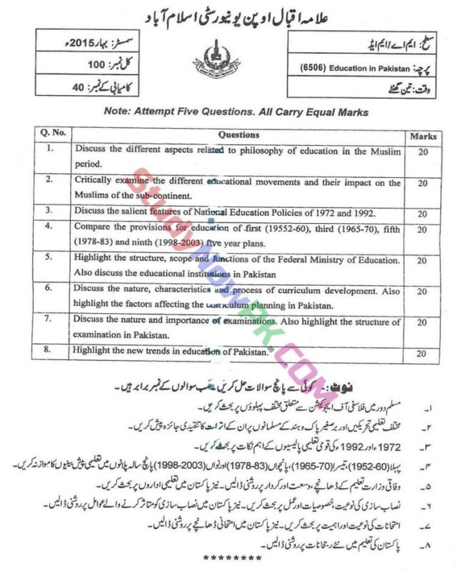 AIOU-MEd-Code-6506-Past-Papers-Spring-2015