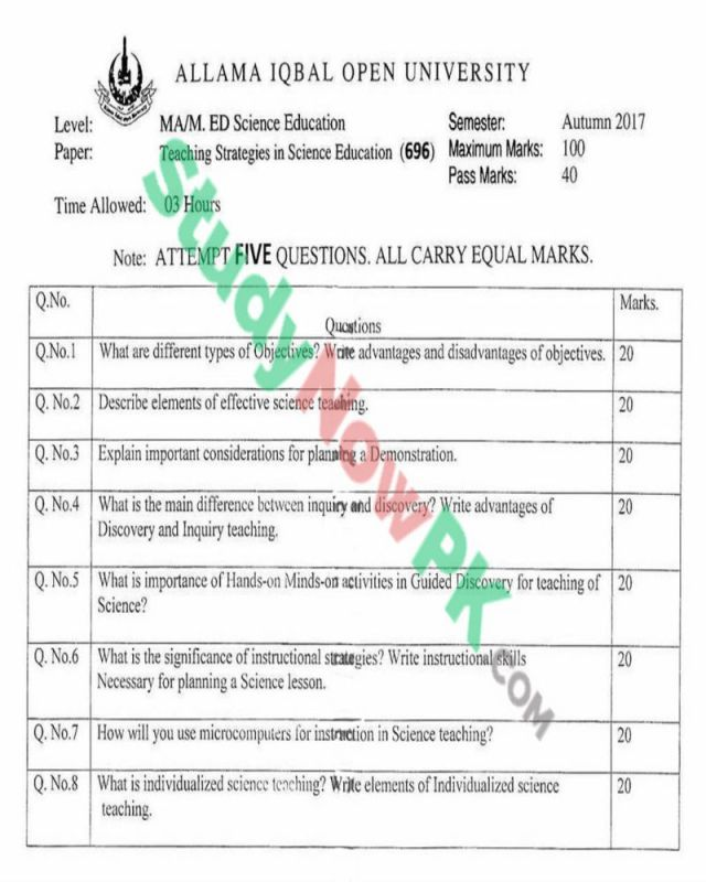 AIOU-MEd-Code-696-Past-Papers--Autumn-2017