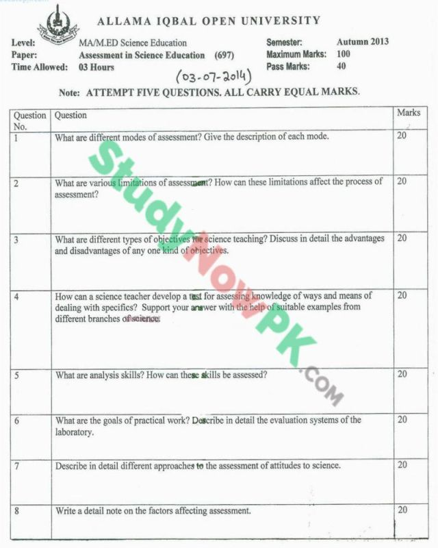 AIOU-MEd-Code-697-Past-Papers-Autumn-2013