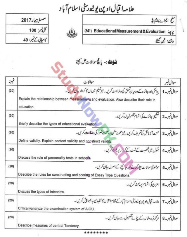 AIOU-MEd-Code-841-Past-Papers-Spring-2017