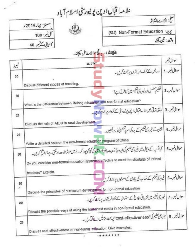 AIOU-MEd-Code-844-Past-Papers-Spring-2016