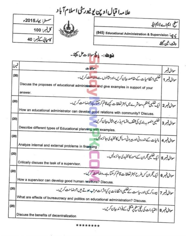 AIOU-MEd-Code-845-Past-Papers-Spring-2015