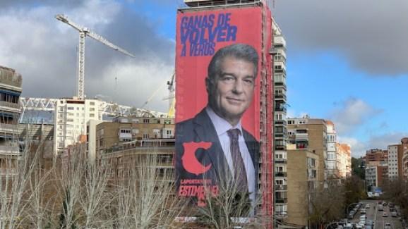 Pancarta Joan Laporta Madrid