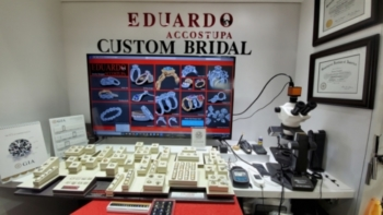 Eduardo Accostupa Custom Bridal Jewelry counter in studio in Westchester County New York