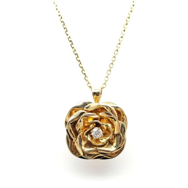 14K Yellow Rose Pendant with Round Diamond