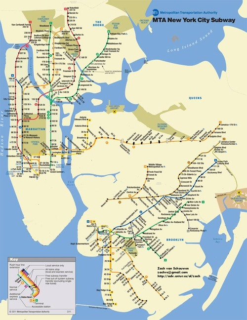 Map of New York City MTA Subway Lines During Hurricane Sandy