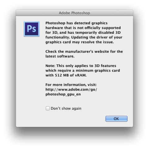 Photoshop CS6 Warning