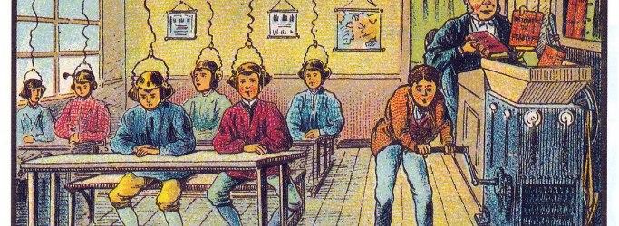 Criança sentadas como robô tendo livros inseridos em suas cabeças por uma máquina