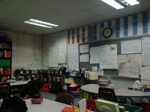 My guided reading table and charts all over the wall, a print rich environment.