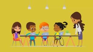 professora desenvolvendo plano de desenvolvimento individual do aluno com alunos com deficiência