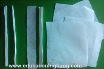 Tiras y cuadrados de papel de filtro
