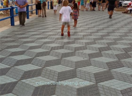 ilusion optica geometrica en baldosas